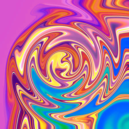Zigzag swirling mystic futuristic liquid colors diffusion background of neon vivid paints in square form