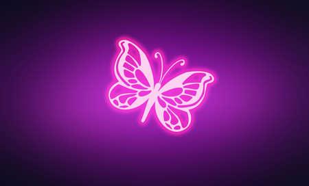 Neon purple pink glowing butterfly on dark violet background.