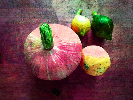Diverse assortment of pumpkins on grunge wooden background. Autumn harvest with painting effect.