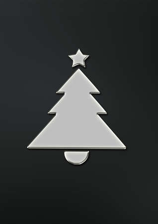 Metal plate christmas tree digitally generated on dark background christmas card. Zdjęcie Seryjne