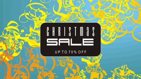 Christmas sale on blue and golden ornaments background vector illustration.