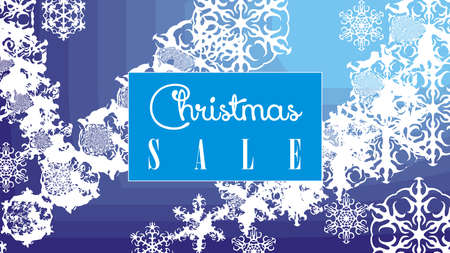 Vector template of Christmas sale winter frozen banner with blue box in center.