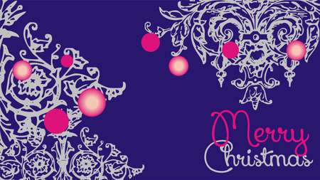 Merry Christmas design card template. Creative card for Holiday Greeting Gift Poster in blue colors