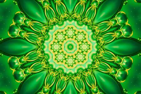 Abstract green lime vivid greenery mandala kaleidoscope background pattern Stockfoto