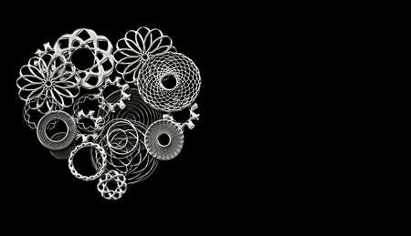 Mechanisches Herz aus Zahnrädern und kleinen Ersatzteilen in Silber auf dem Hintergrund mit Kopienraum Standard-Bild