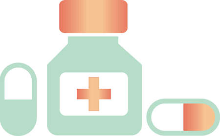 Medicine icon vector illustration in mint and peach colors. minimal design style.