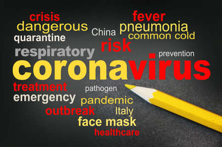 COVID-19 awareness word cloud surrounded by a relevant word cloud with yellow pencil besides. Coronavirus alert concept. 免版税图像