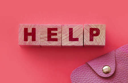 Help word on wooden blocks with pink wallet besides. Charity sponsorship business startup support concept.