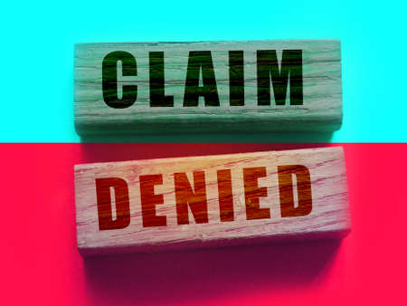 Claim denied on Wooden Blocks. Business financing sponsorship request concept, negative answer concept.