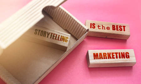 Storytelling is the best marketing on Wooden Blocks in box and outside it. Business promotion concept.
