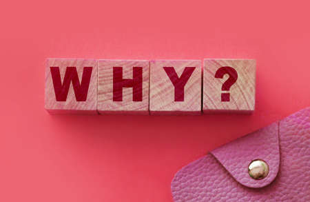 The word Why wrote of Building Blocks and pink wallet. Reasons of having or not having money, of being rich or poor concept. 免版税图像