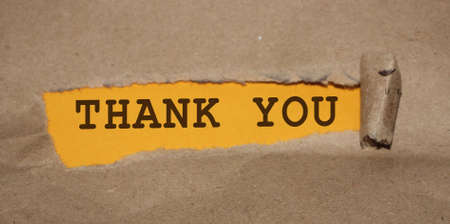 The text Thank You appearing behind torn brown paper.