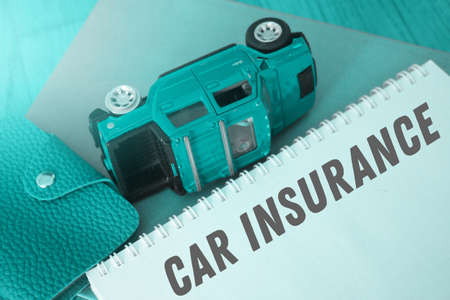 Word writing text Car Insurance. Business concept for Accidents coverage Comprehensive Policy Motor Vehicle Guaranty. Teal duotone.