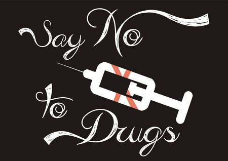 Say No To Drugs words lettering and syringe icon crossed out. Minimal style vector poster.