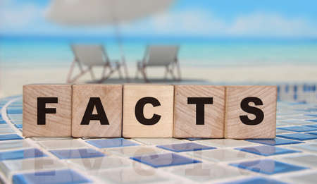 wooden cubes with word fact at border of swimming pool. Facts and false news social concept. Real facts and lies concept Banque d'images