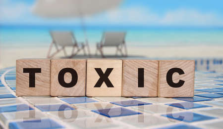 Toxic Word written on wooden cubes. Detox intoxication rehab stop smoking and drinking concept.