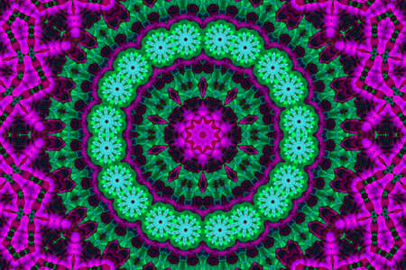 Abstract floral kaleidoscopic mandala in cyan purple and neon green, ornamental horizontal layout magic esoteric concept. Banque d'images