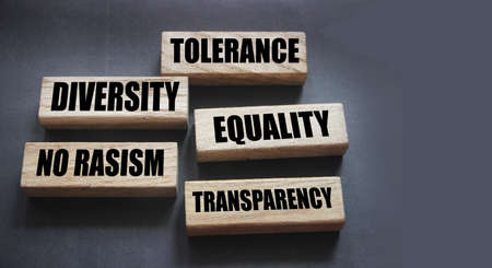 Tolerance, equality diversity and No rasism words on wooden blocks on gray. Social business concept