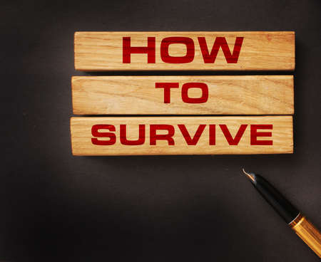 How to survive on wooden blocks and luxury pen. Business crisis survival concept. Social concept.