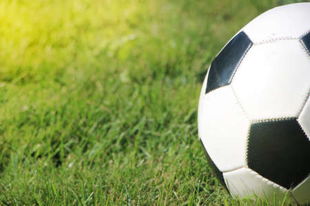 Typical soccer ball on the grass, outdoors on the stadium field. Traditional football ball on the green grass turf before goal. sports leisure and healthy activity. Zdjęcie Seryjne