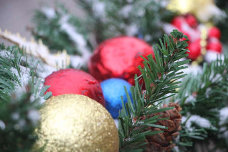 Christmas decorations on the branches of fir
