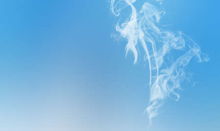White wipe smoke cloud on sky blue. Abstract mystic freeze motion diffusion background.