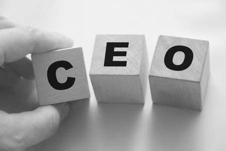 CEO written on a wooden cubes. Letters stands for Chief Executive officer. Business management concept.