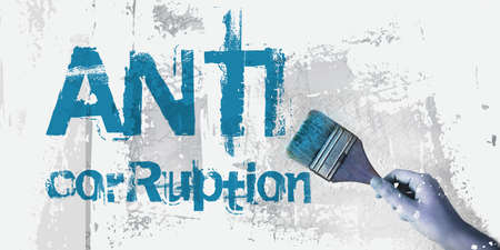 ANTI CORRUPTION Hand drawing words with paintbrush. Clear Business concept