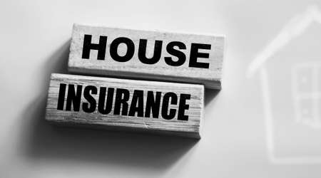Wood Blocks with Words House Insurance. Business Insurances financial Concept