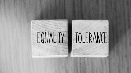 Equality tolerance words written on wood blocks. Equal rights inclusion social and business concept