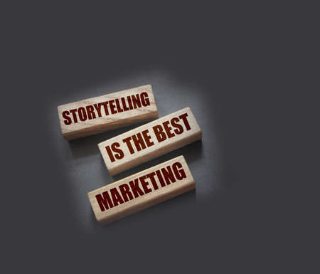 Storytelling is the best Marketing words on wooden blocks. The motivational marketing piar advertising concept Archivio Fotografico