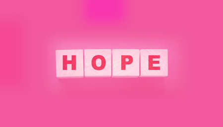 Wooden cubes with the word Hope. States of mind concept. Healthcare life concept