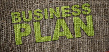 Business plan words printed on burlap canvas. business startup concept. Handmade private enterprice concept