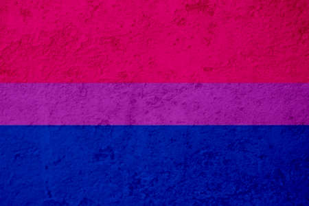 Picture of flag painted on the grunge wall. LGBTQ social concept. Stock Photo