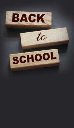 Back to school words on wooden cubes. Education concept.