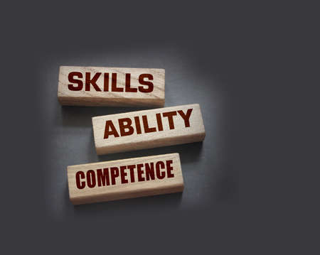 Skills ability competence words in wooden blocks concept. Career and business success concept. Archivio Fotografico