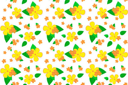 Bright yellow and red floral seamless pattern. Hand drawing vector plumeria. Tropical summer flowers for fabric, wrapping paper or wallpaper design. Иллюстрация