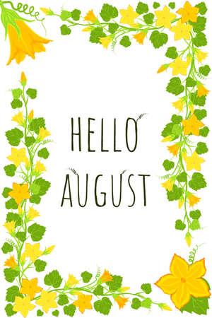 Bright pumpkin flowers template. Hello august postcard. Yellow floral branch border in a rectangular frame. Sunny summertime Vettoriali