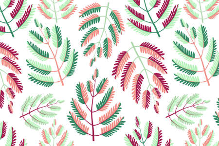 Nice bush plant vector seamless pattern. Green and pink leaves illustration for print design, fabric, textile, background, wallpaper, cover, calendar Vectores