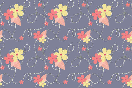 Pastel floral vector seamless pattern. Leaves and flowers on the dark background. Nice hand drawn illustration for fabric, textile, wallpaper, calendar, banner, cover.