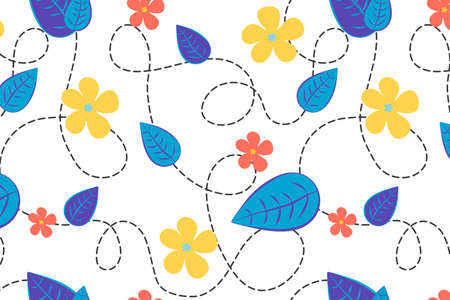Bright floral vector seamless pattern. Leaves and flowers in blue, red and yellow tint. Nice hand drawn illustration for fabric, textile, wallpaper, calendar, banner, cover.