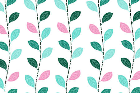 Violet basil branch vector seamless pattern. Connected cooking herb branches with dashed line. Hand drawn illustration for print design, wallpaper, cover, wrapping paper, fabric, textile Vettoriali