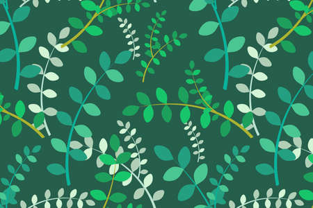 Delicate vector leaves seamless pattern. Hand drawn illustration with rainforest plants for wallpaper, fabric, textile, cover, calendar, banner.
