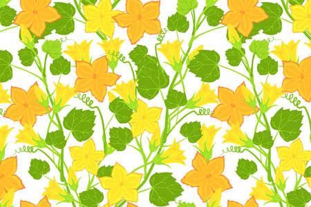 Yellow pumpkin flower pattern. Bright floral branch print design