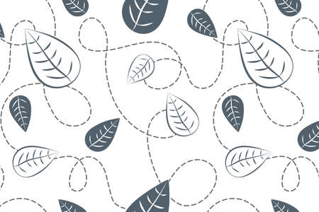 Monochrome leaves vector seamless pattern. Nice hand drawn botanical illustration for fabric, textile, wallpaper, calendar, banner, cover.
