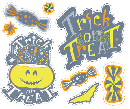 Halloween sticker pack with bats pumpkin coffin and sweets. Nice graphic items in party mood. Hand drawn vector print design