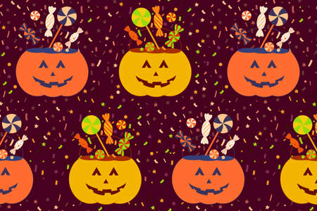Nice halloween seamless pattern with pumpkin trick or treat bucket. Vector halloween party illustration for print design, fabric, textile, wallpaper, wrapping paper.