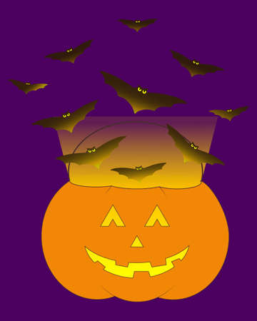 Pumpkin trick or treat bucket with bats and candle. Dark jack o lantern illustration.