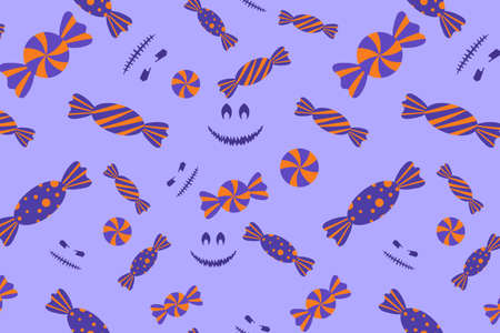 Halloween candy and jack face seamless pattern. Spooky and sweet illustration for print design, fabric, textile, wallpaper, wrapping paper.
