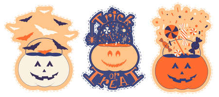 Nice pumpkin set for halloween. Sticker pack with pumpkin trick or treat bucket filling with sweets and bats. Hand drawn vector illustration.
